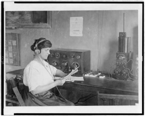 Old Radio_Woman Monitoring HEADPHONES