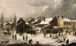 A preindustrial Winter Scene in Brooklyn, c. 1819–20, by Francis Guy (Brooklyn Museum)