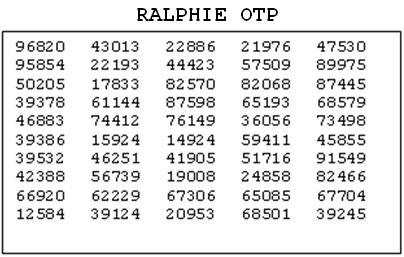 Ralphie OTP